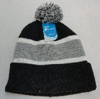 Double-Layer Knitted Hat with PomPom [Dark Gray/Light Gray]